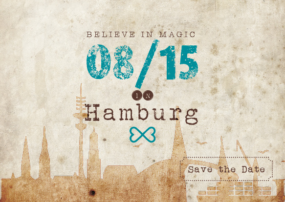 Vintage Ticket-Save the Date Karten – Believe in magic