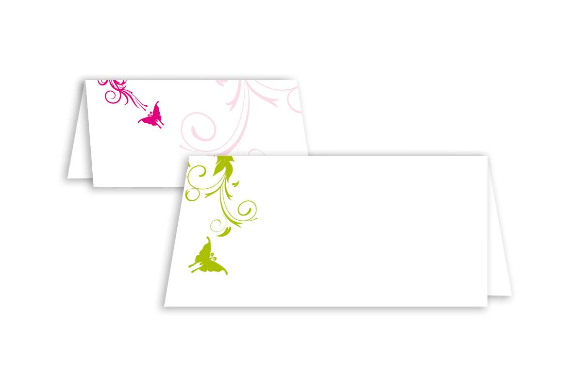 Tischkarten leinenpapier altarfalzkarte elegante ornamente