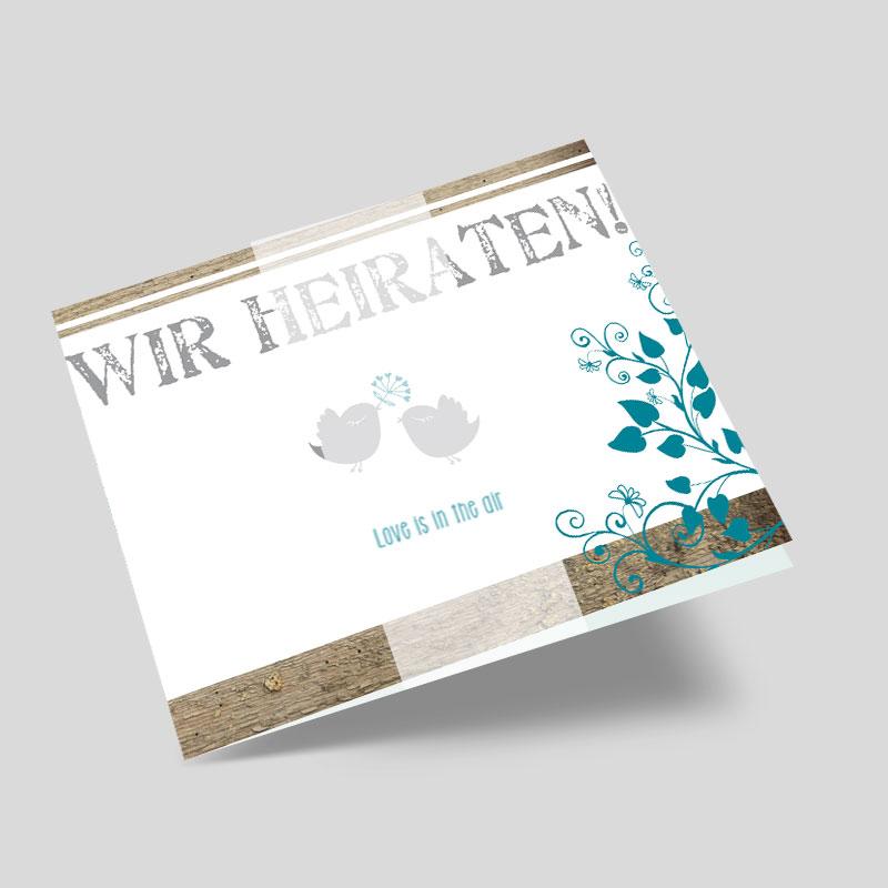 Lovebirds - Hochzeitseinladungskarte mit Banderole
