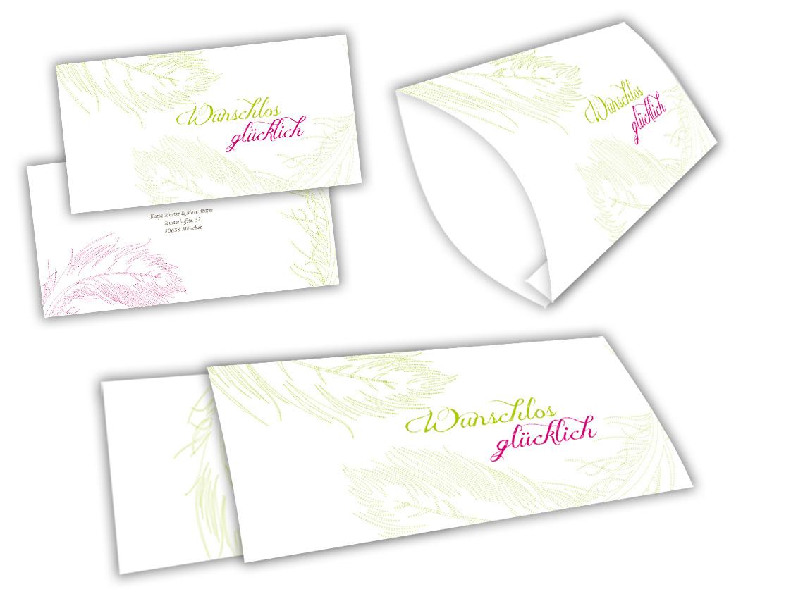 Federleichtes glück einsteck kuverts mit banderole