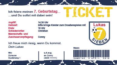 Ticket Geburtstagseinladung Fussball Fur Den Kindergeburtstag