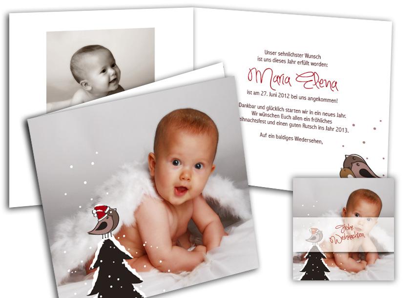 Geburtsanzeige und Weihnachtenkarte - schöne Kombination